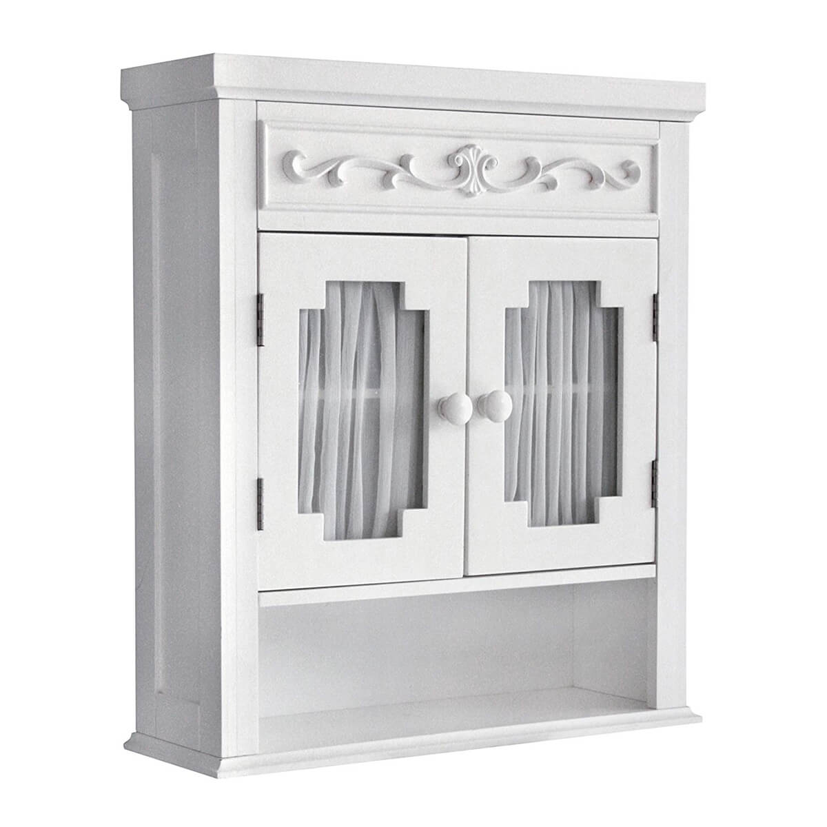 Elegant White Cabinet with Glass Paneled Doors