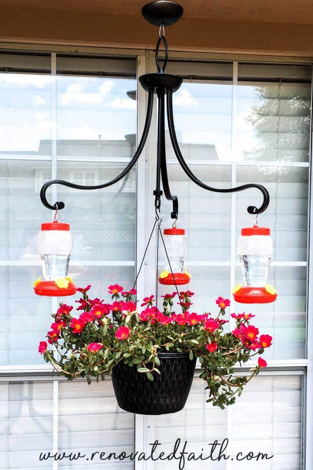 Elegant Renovated Chandelier Hummingbird Feeder