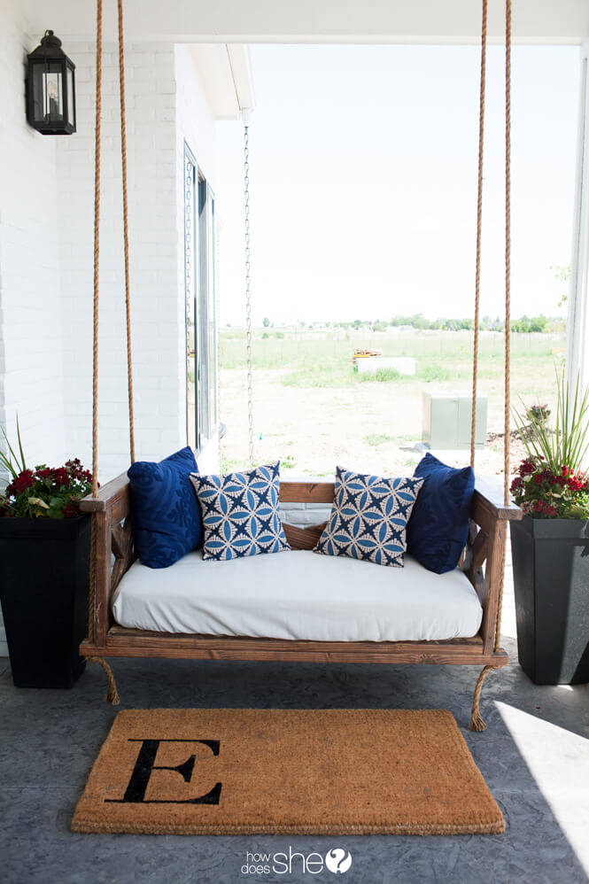 Tranquil Homemade Rocking Porch Swing