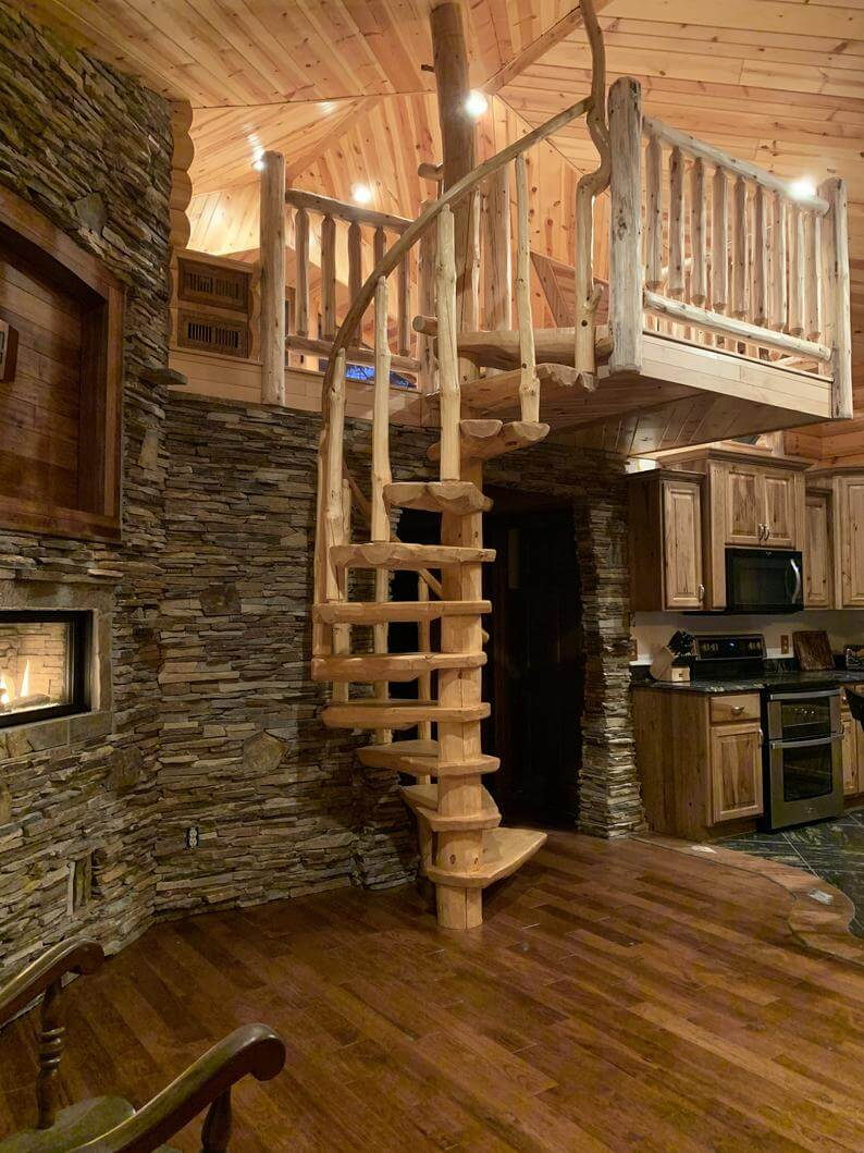 Incredible Custom Made Rustic Pine Staircase