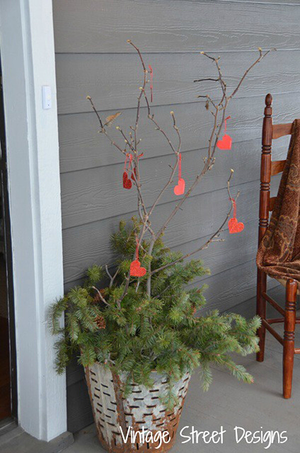 Decorate Twigs and Branches with Little Hearts