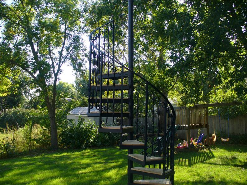 Handmade Spiral Stairs with Cedar Steps