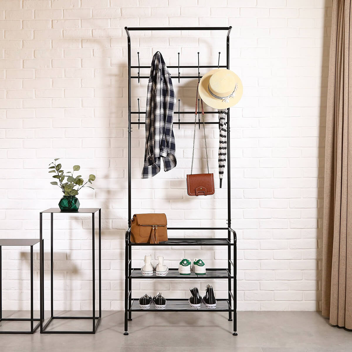Practical Metal Coat and Shoe Rack