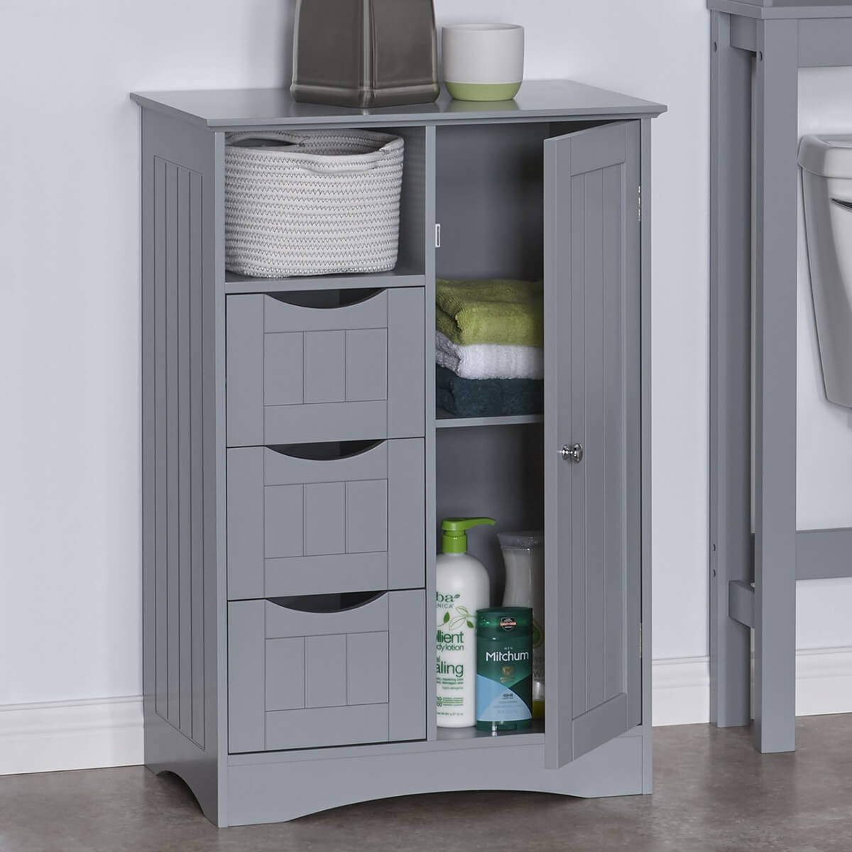 Grey Storage Cabinet with Cubbies