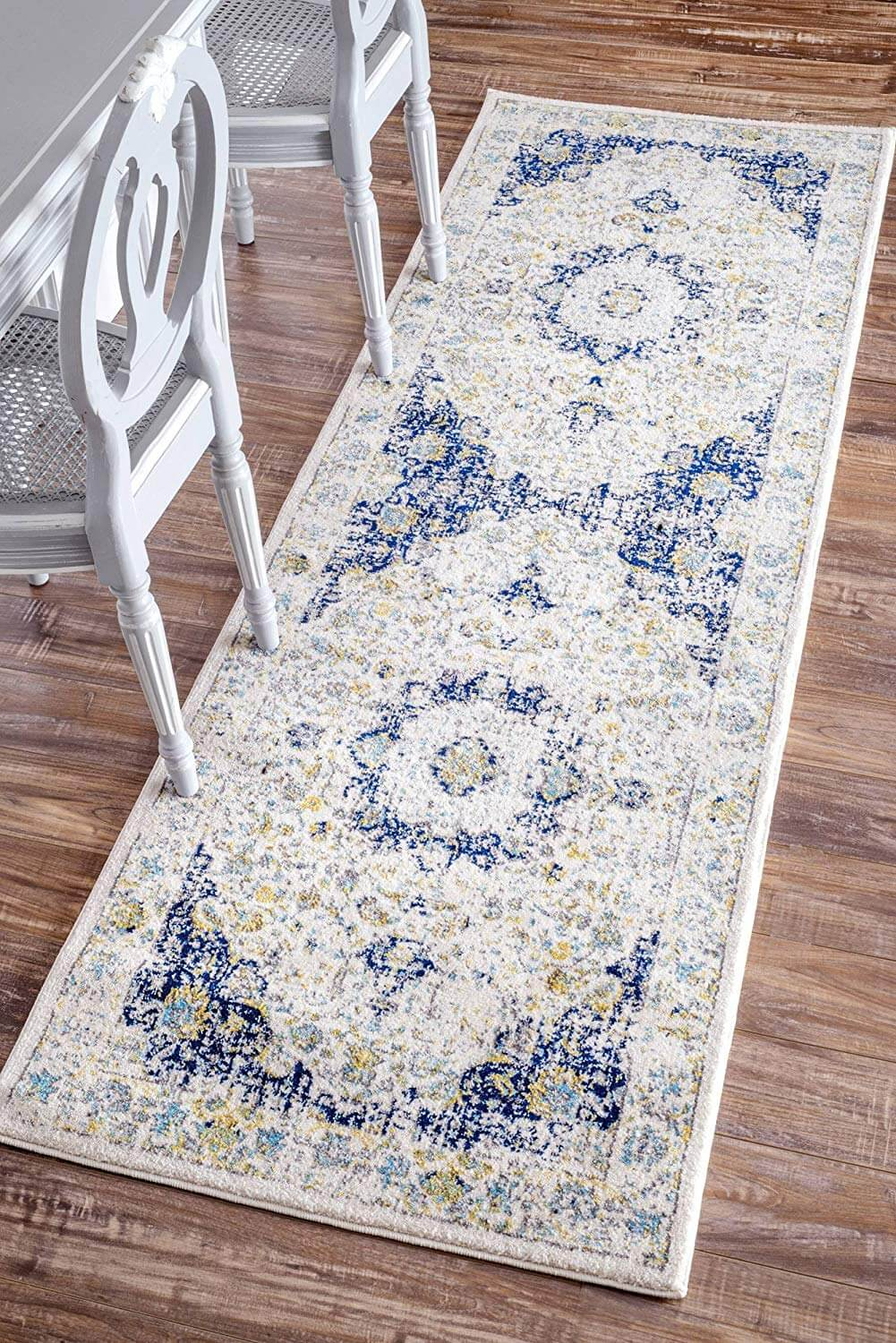 Distressed Persian-Style Blue and White Rug