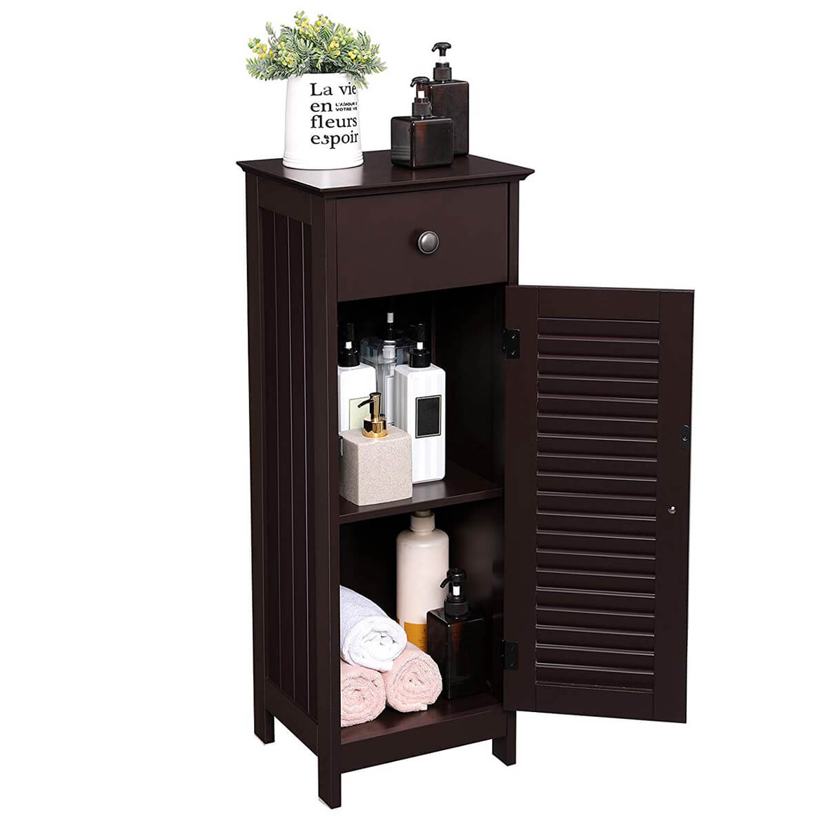 Brown Shutter Style Floor Cabinet
