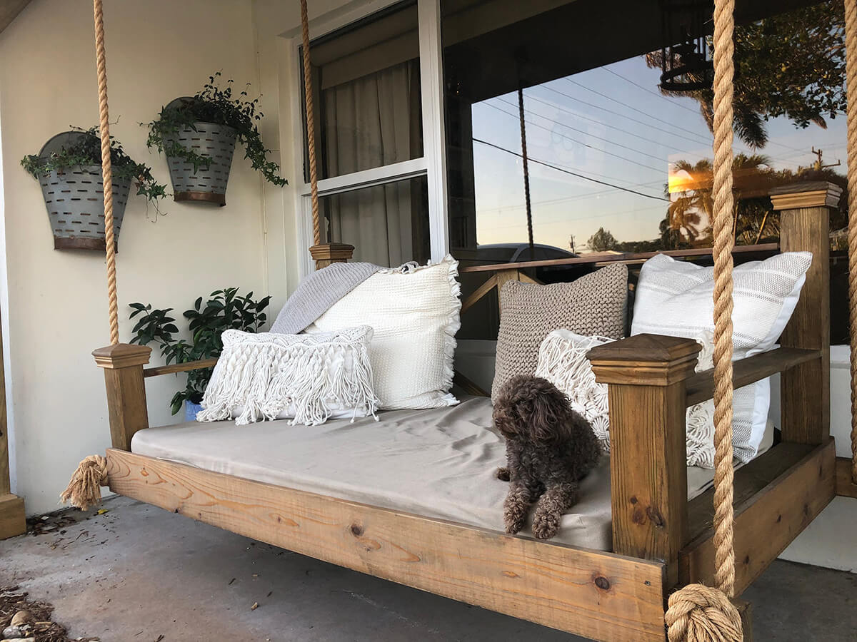 Cedar and Rope veranda Bed Swing