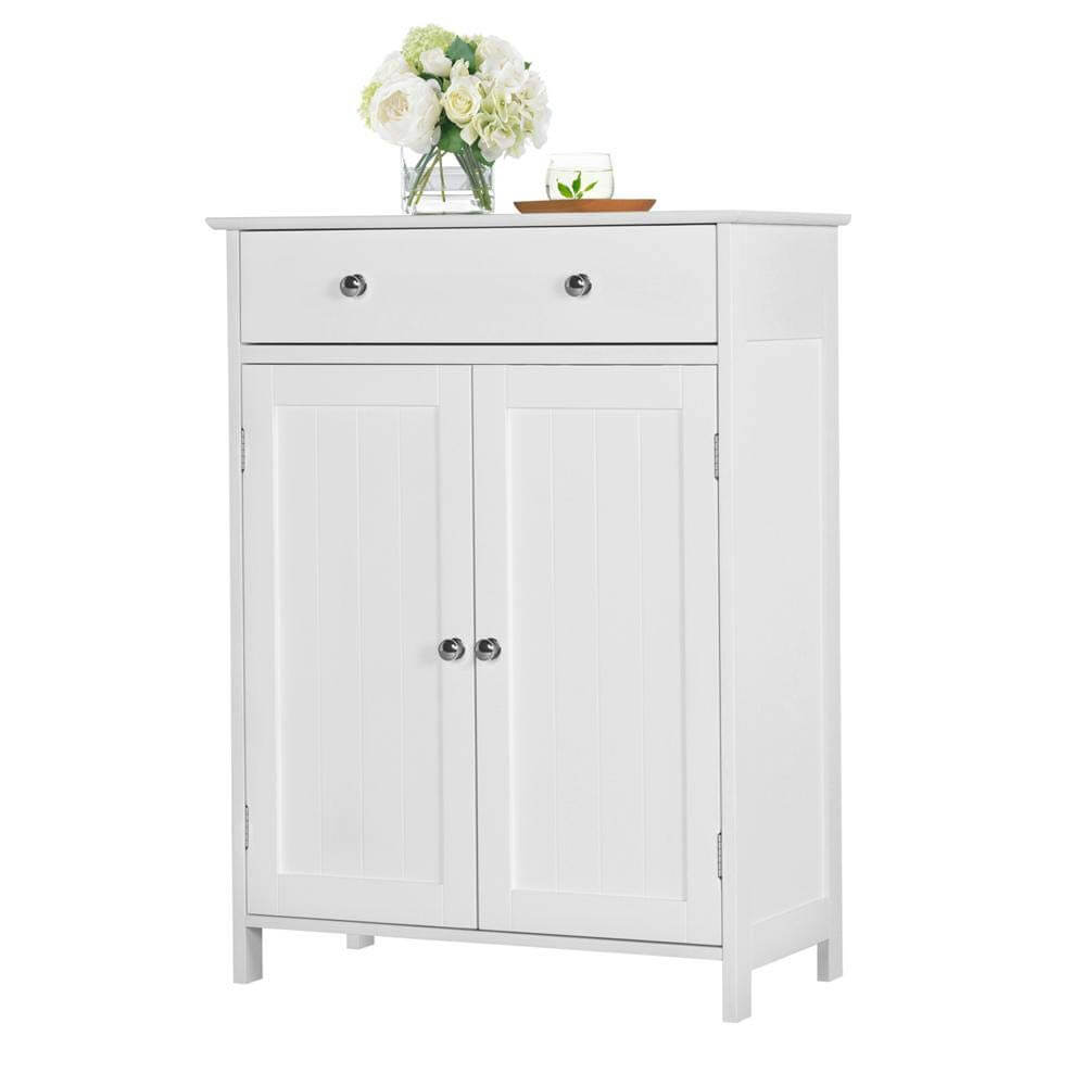 White Storage Cabinet with Drawers