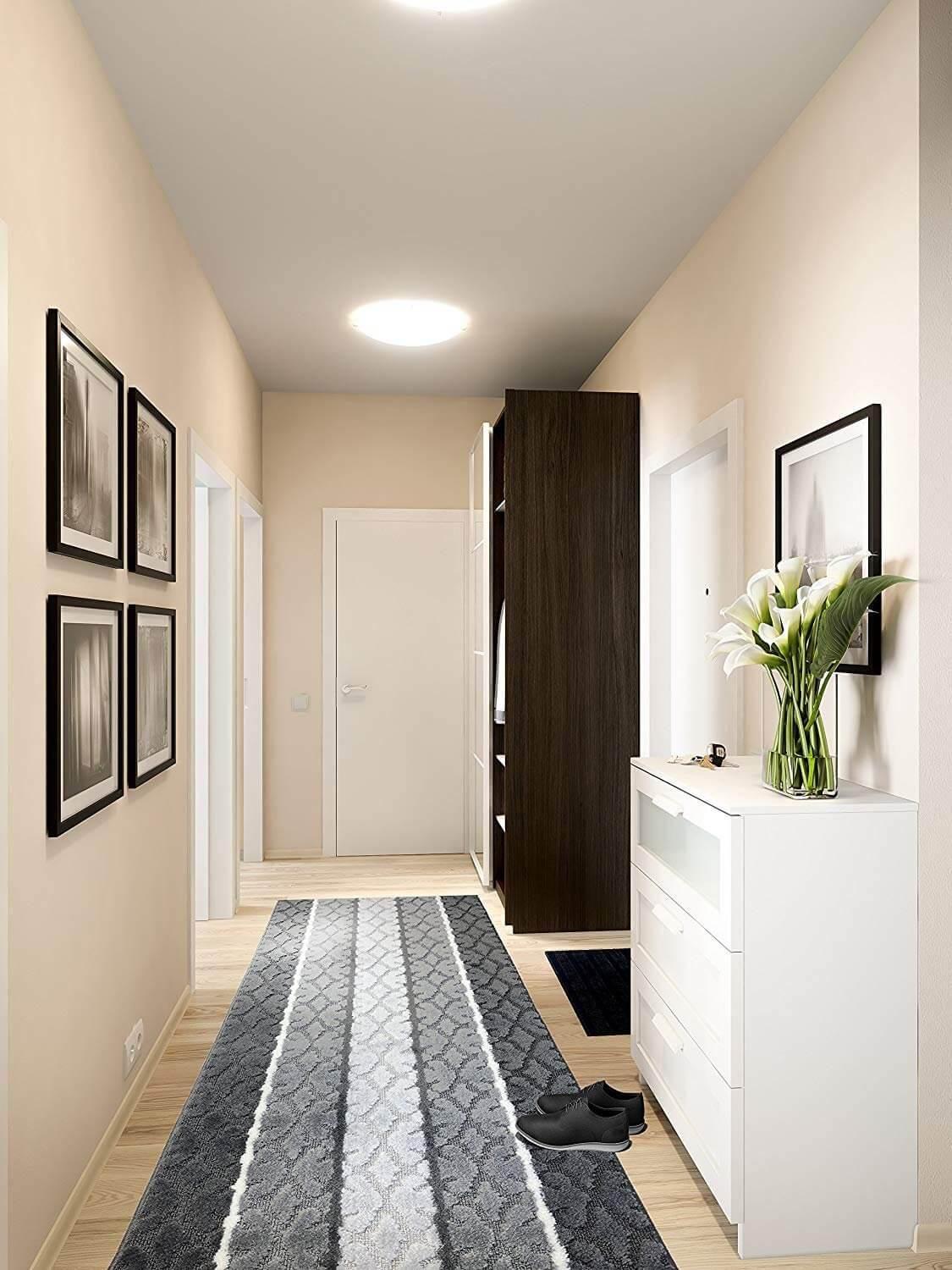 Grayscale Stripped Hallway Runner Rug