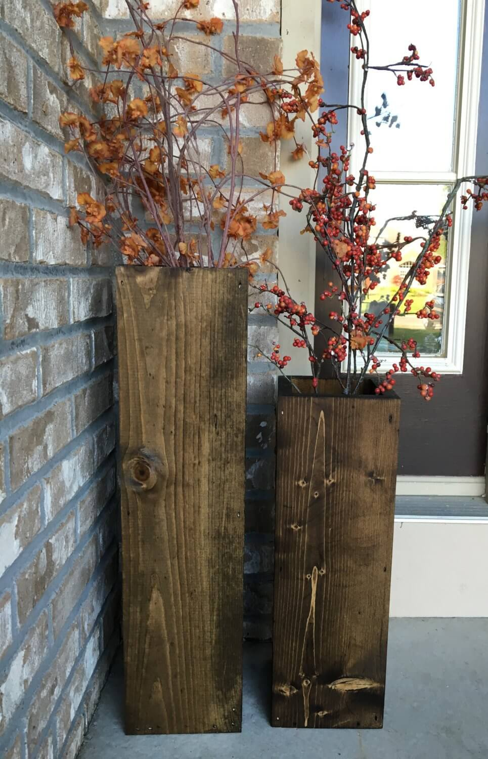 Tall Reclaimed Wood Floor Vases