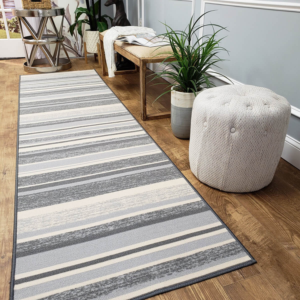 Thin and Light Gray Striped Rug
