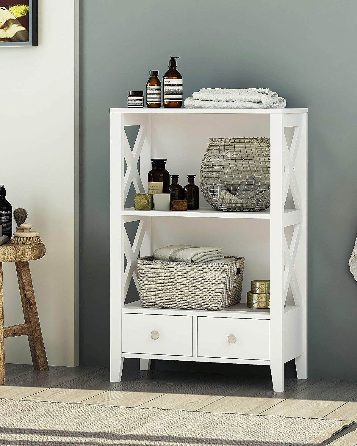 Country Style Cabinet with Open Shelving