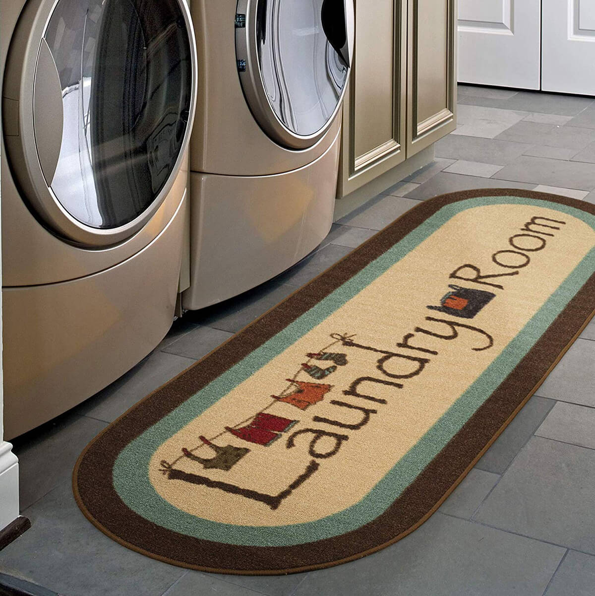 Playful Illustrated Laundry Room Runner with Clothesline