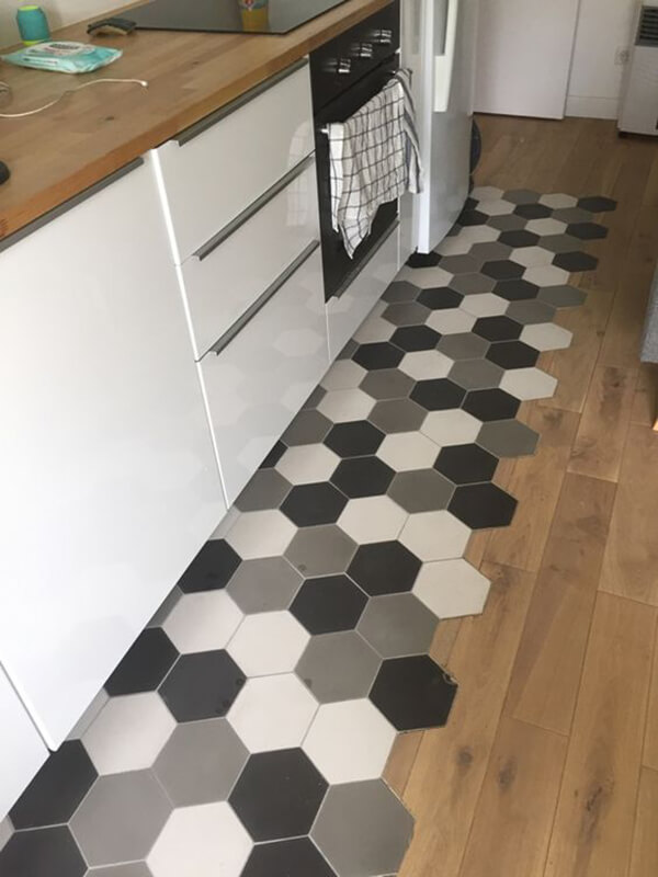 Contemporary Black and White Geometric Flooring Design