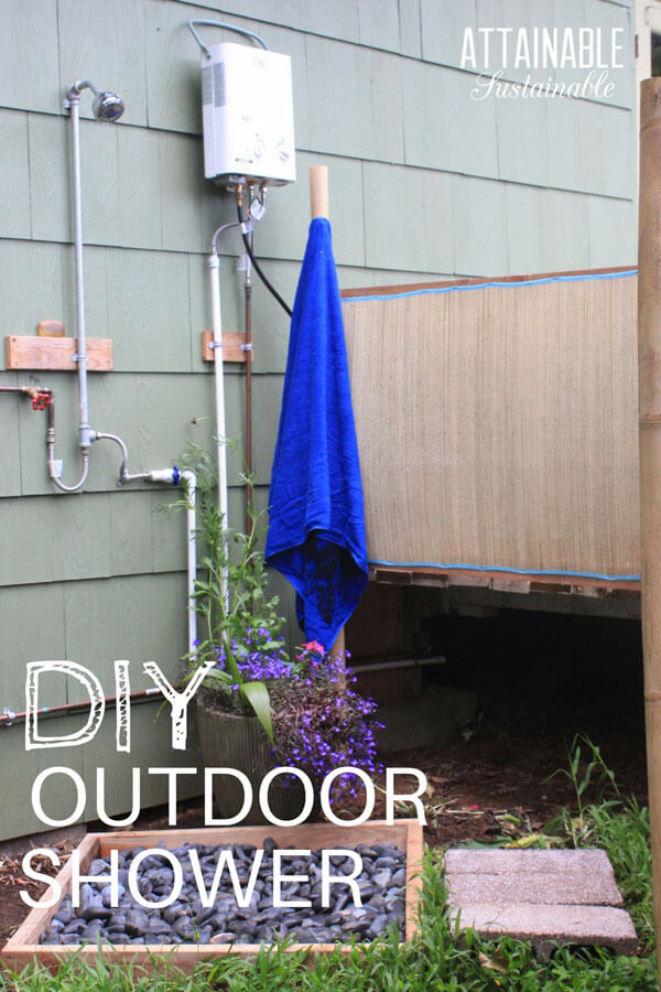 DIY Outdoor Shower Attached to Wall