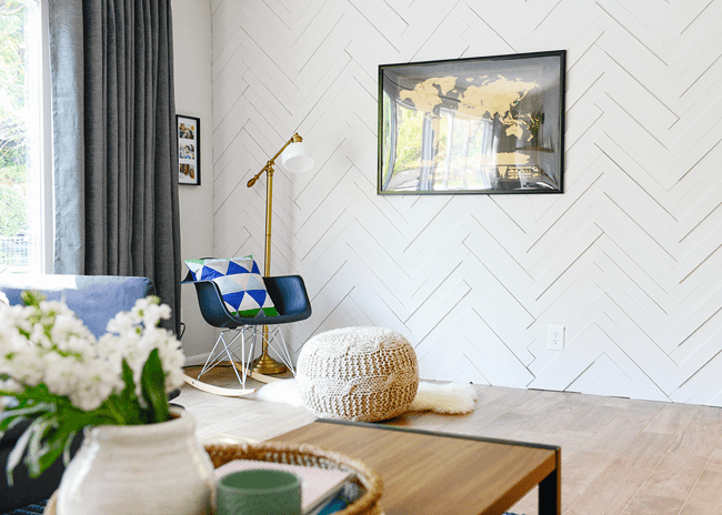 Chevron-Styled Textured Living Room Accent Wall Design