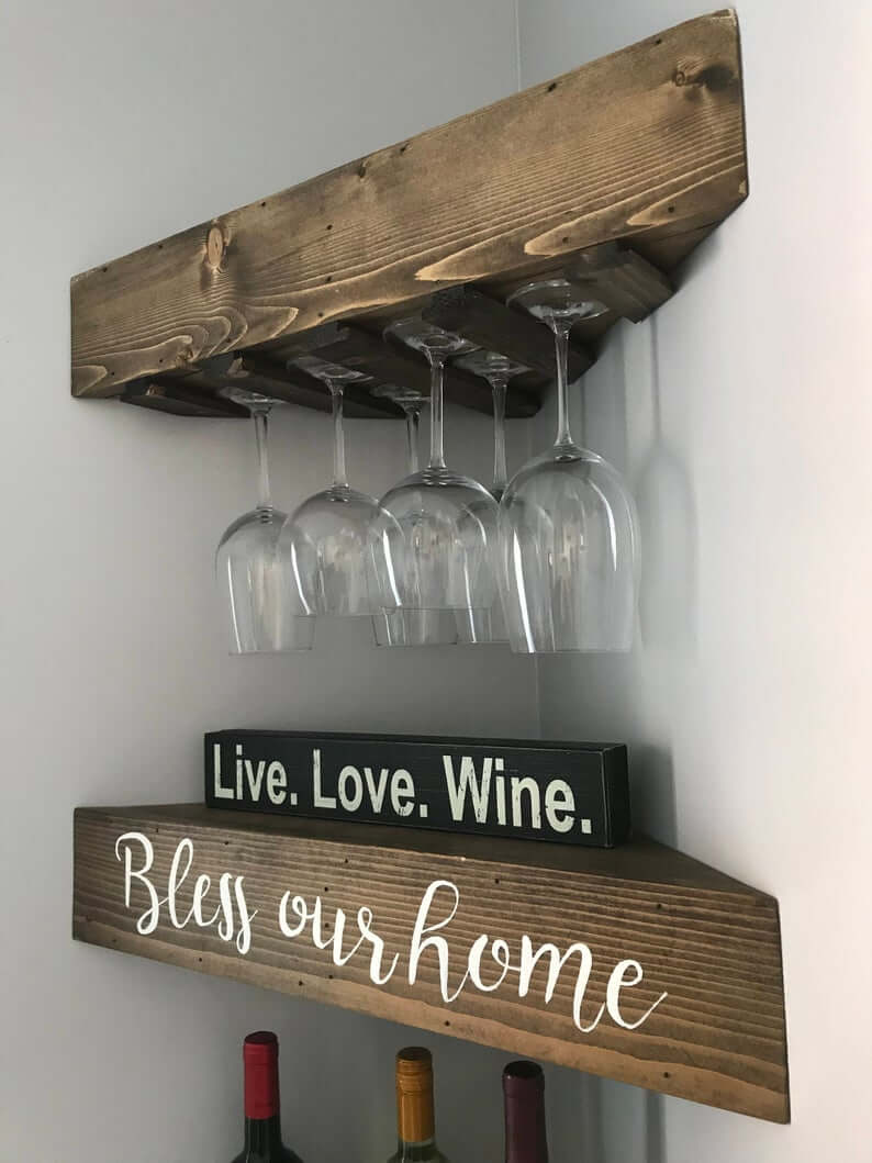Purchase or DIY Corner Wine Shelf