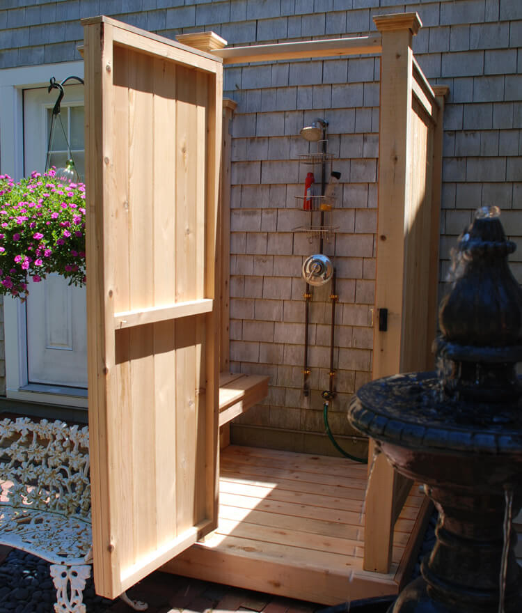 Wooden Outdoor Bathhouse for Backyard