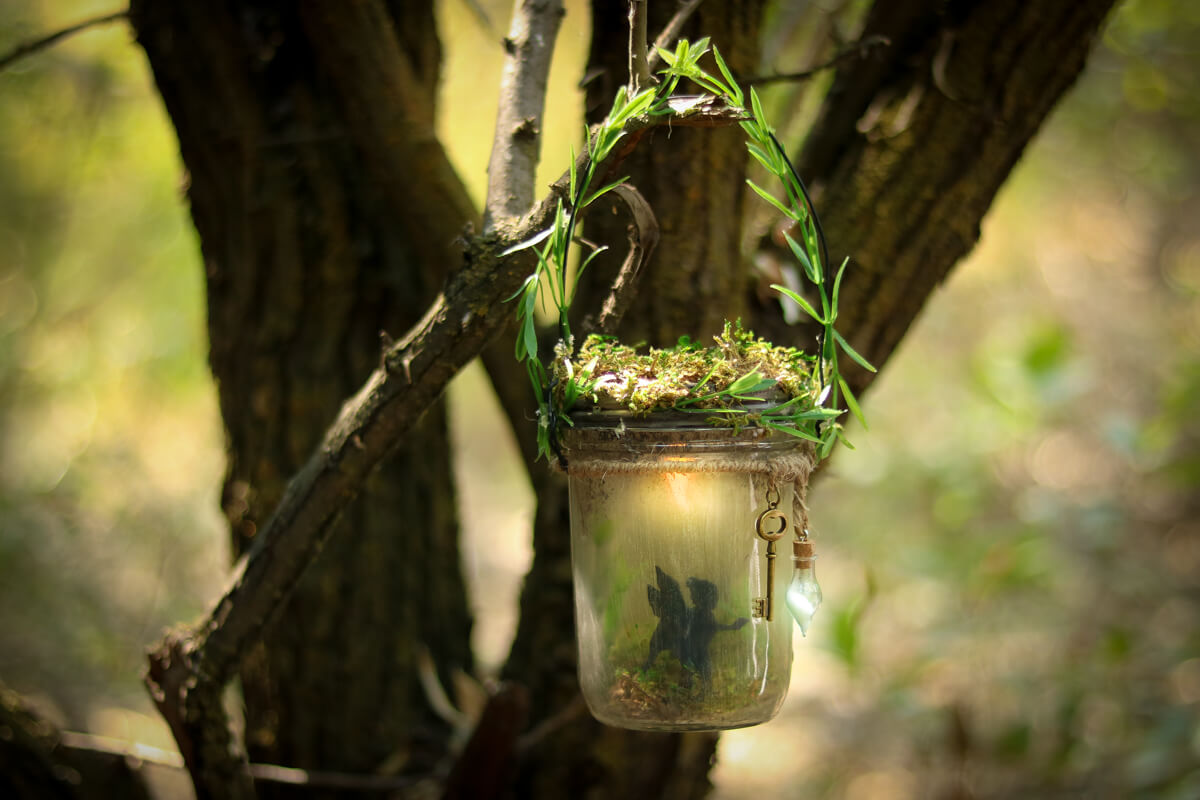 Fern and Moss Wrapped Fairy Jar