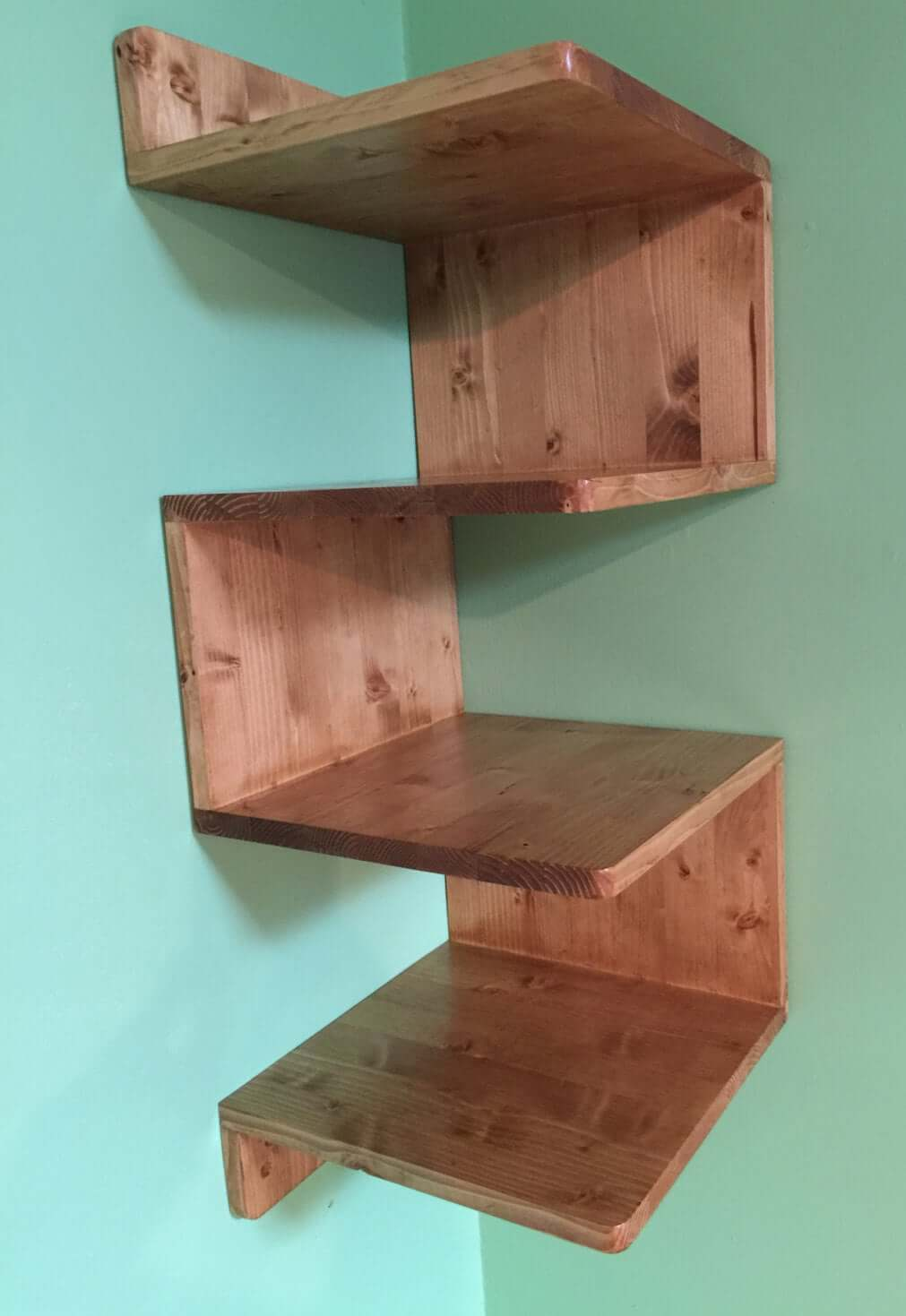 Zig-Zag Wooden DIY Corner Shelves