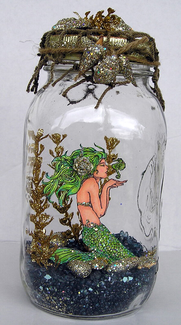 Sparly Mermaid Mason Jar