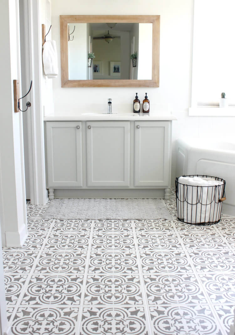 A Minimalist's Dream Bathroom with Stenciled Tiles