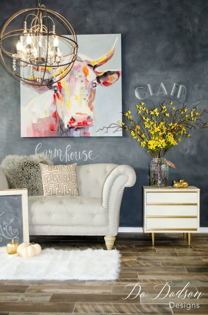 The Perfect Chalkboard Living Room Accent Wall Design