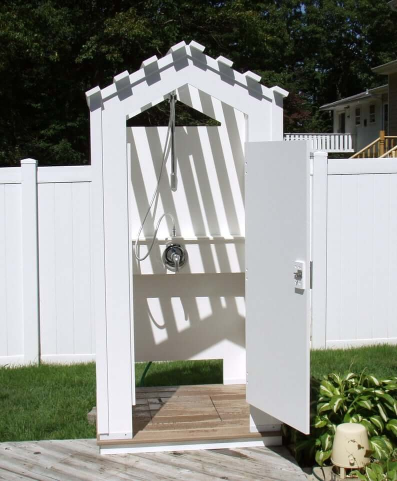 All White Wooden Outdoor Bathhouse