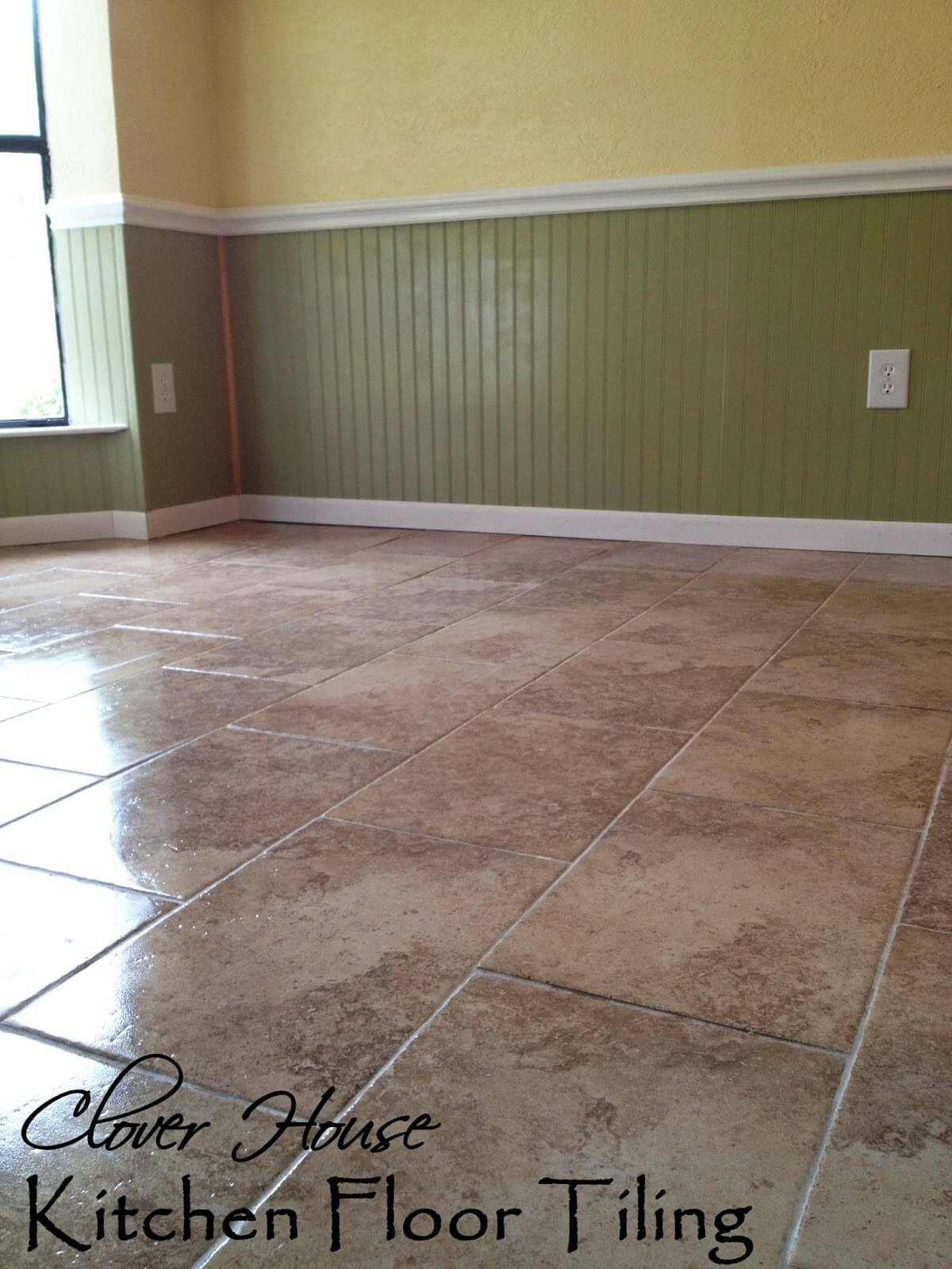Classic Brown and Tan Kitchen Floor Tile