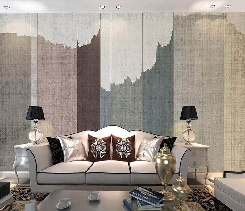 Fabric Wallpaper Panels with Abstract Mountain Range