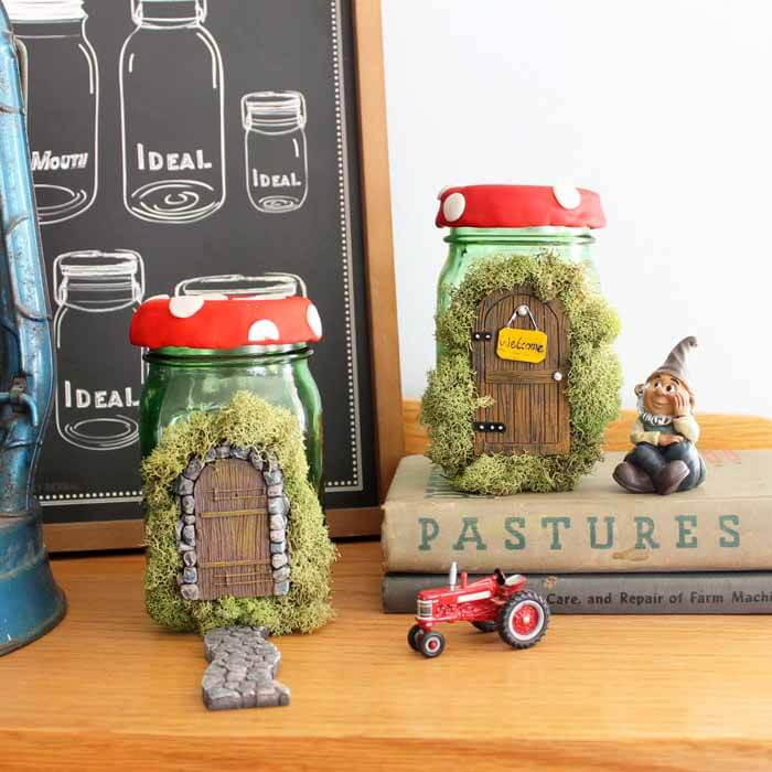 Cute Fairy Door Mason Jar