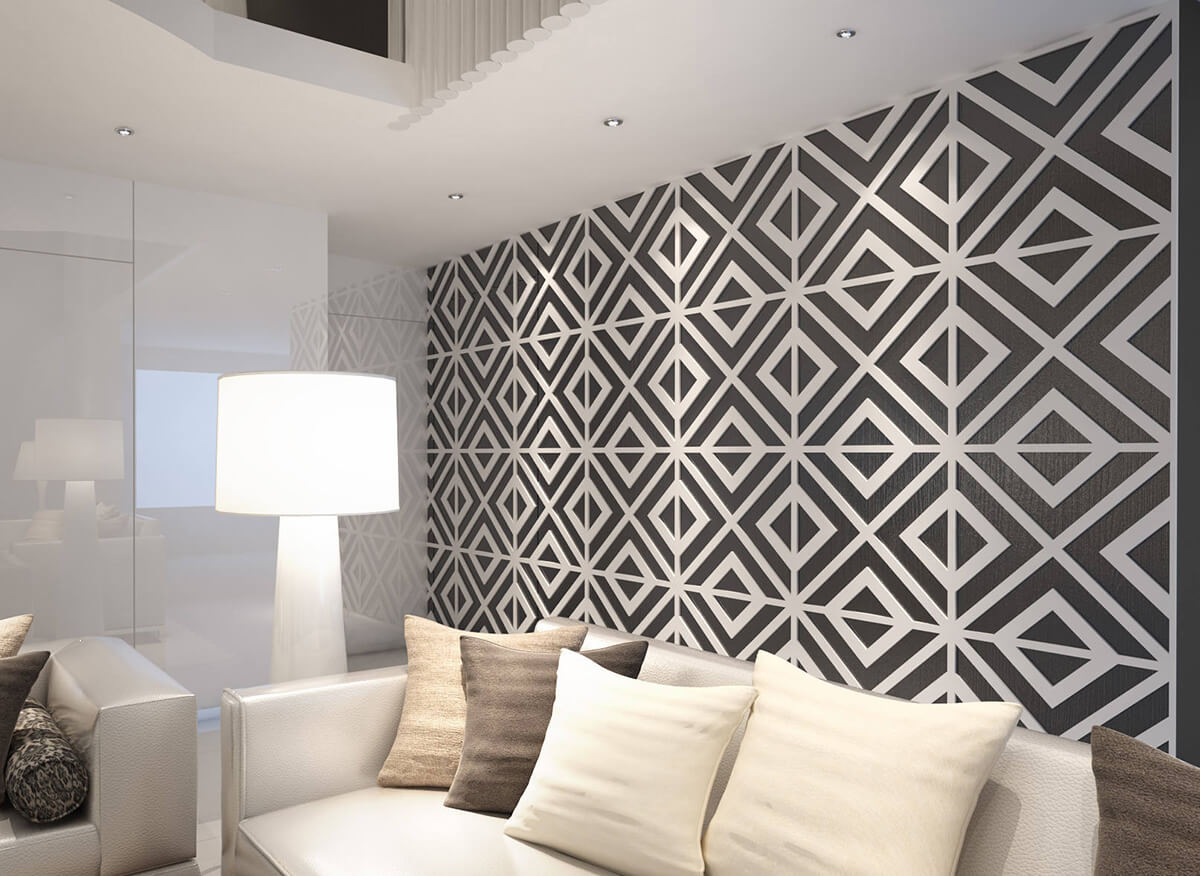 3-D Living Room Accent Wall Design Ideas