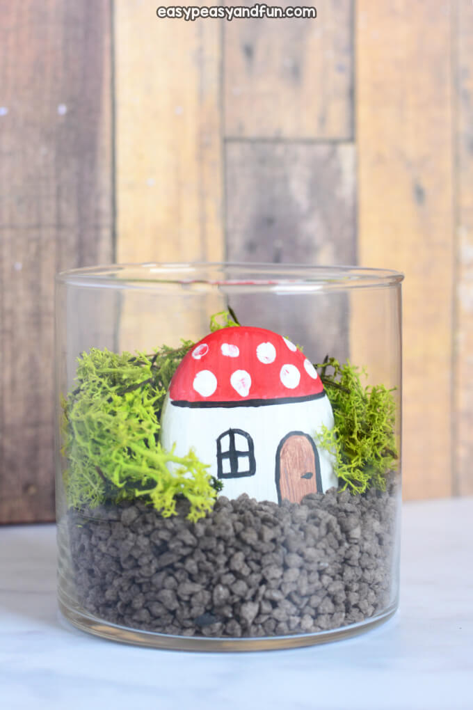 Painted Rock Fairy Home in a Jar
