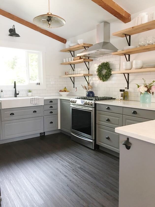 Gray and Simple Farmhouse-Inspired Flooring Idea