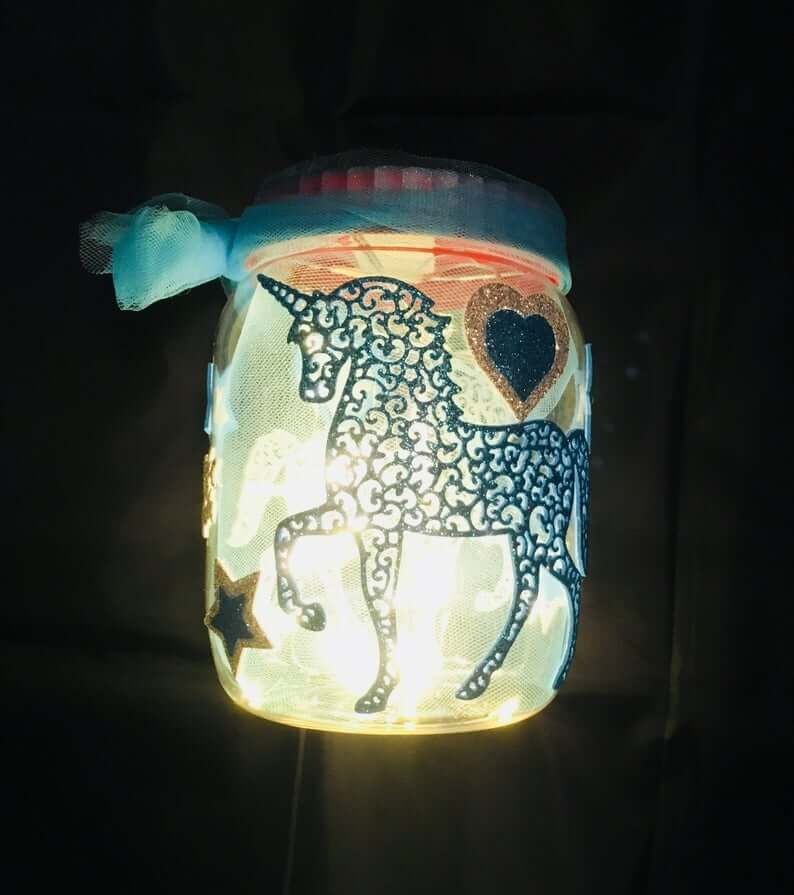 Magical Unicorn Glowing Mason Jar