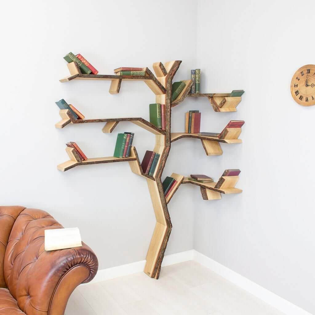 Stunning Organic Yew Tree Corner Shelf