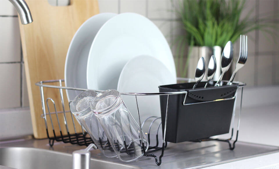 Stylish Chrome-plated Steel Dish Drainer