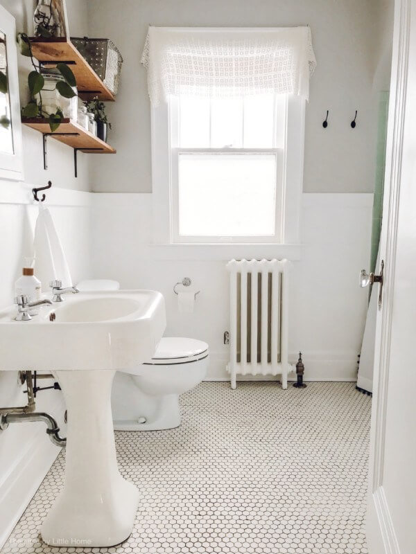 Exposed Piping and Open Shelving Bathroom Update