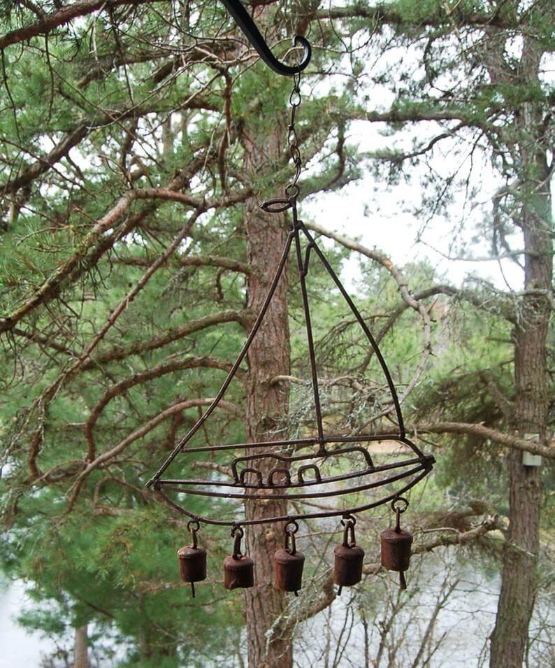 Rustic Sailboat with Garden Bells