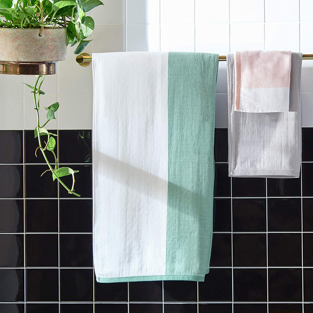 Contemporary Striped Cotton Bath Towels by Rivet