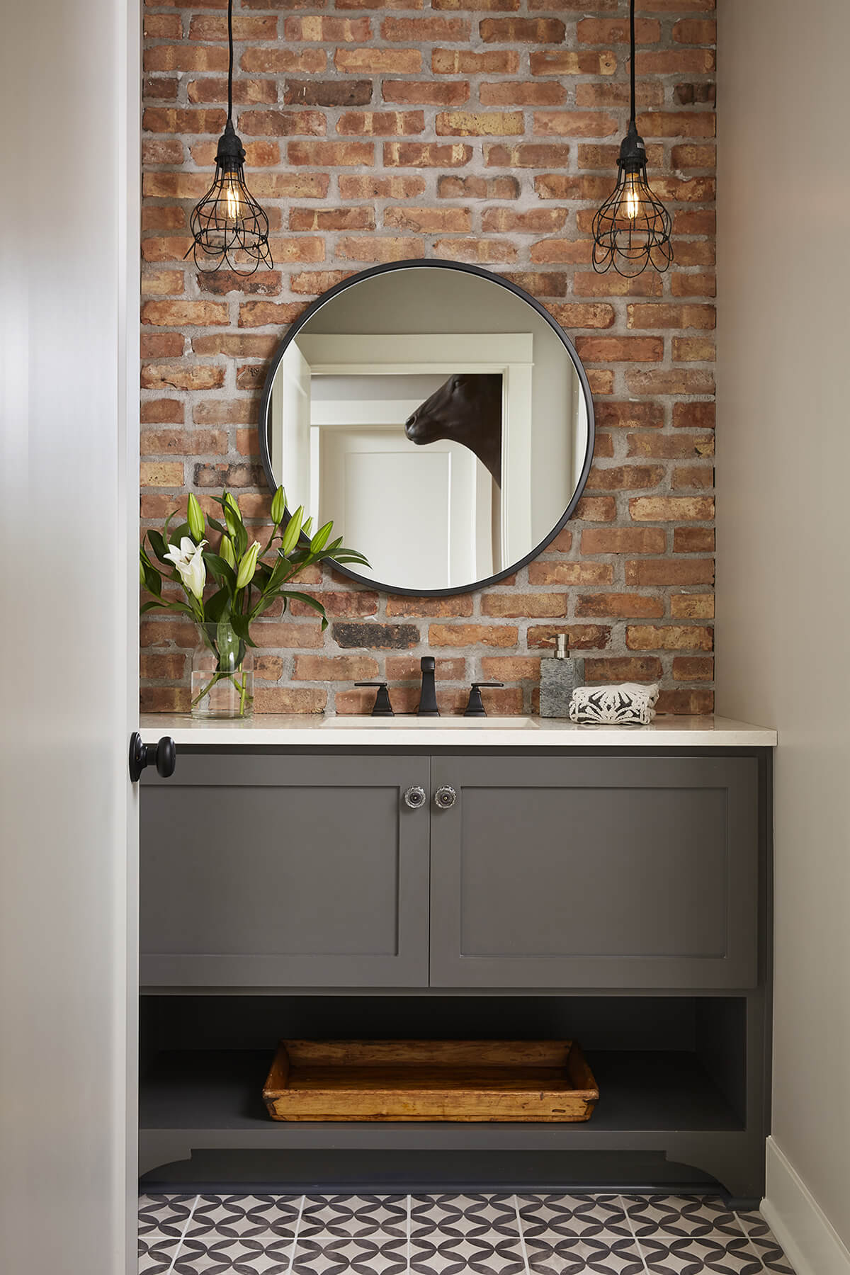 Exposed Brick for a Statement Piece in the Bathroom