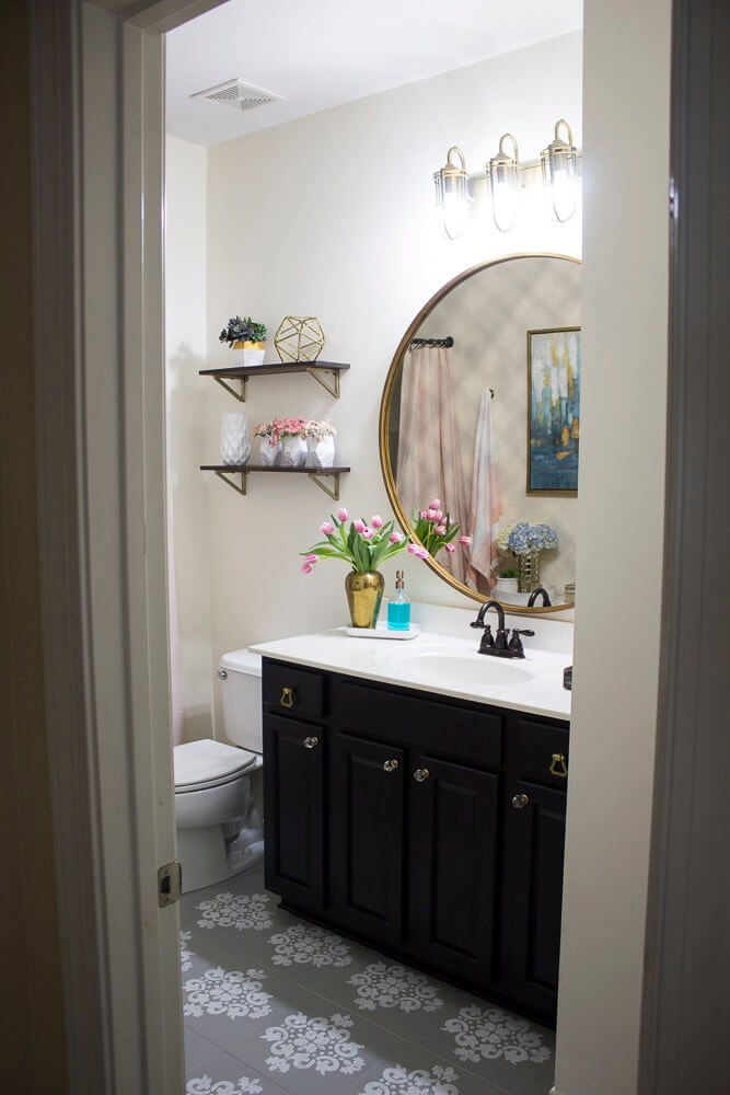 Powder Room Makeover with Feminine Aesthetics