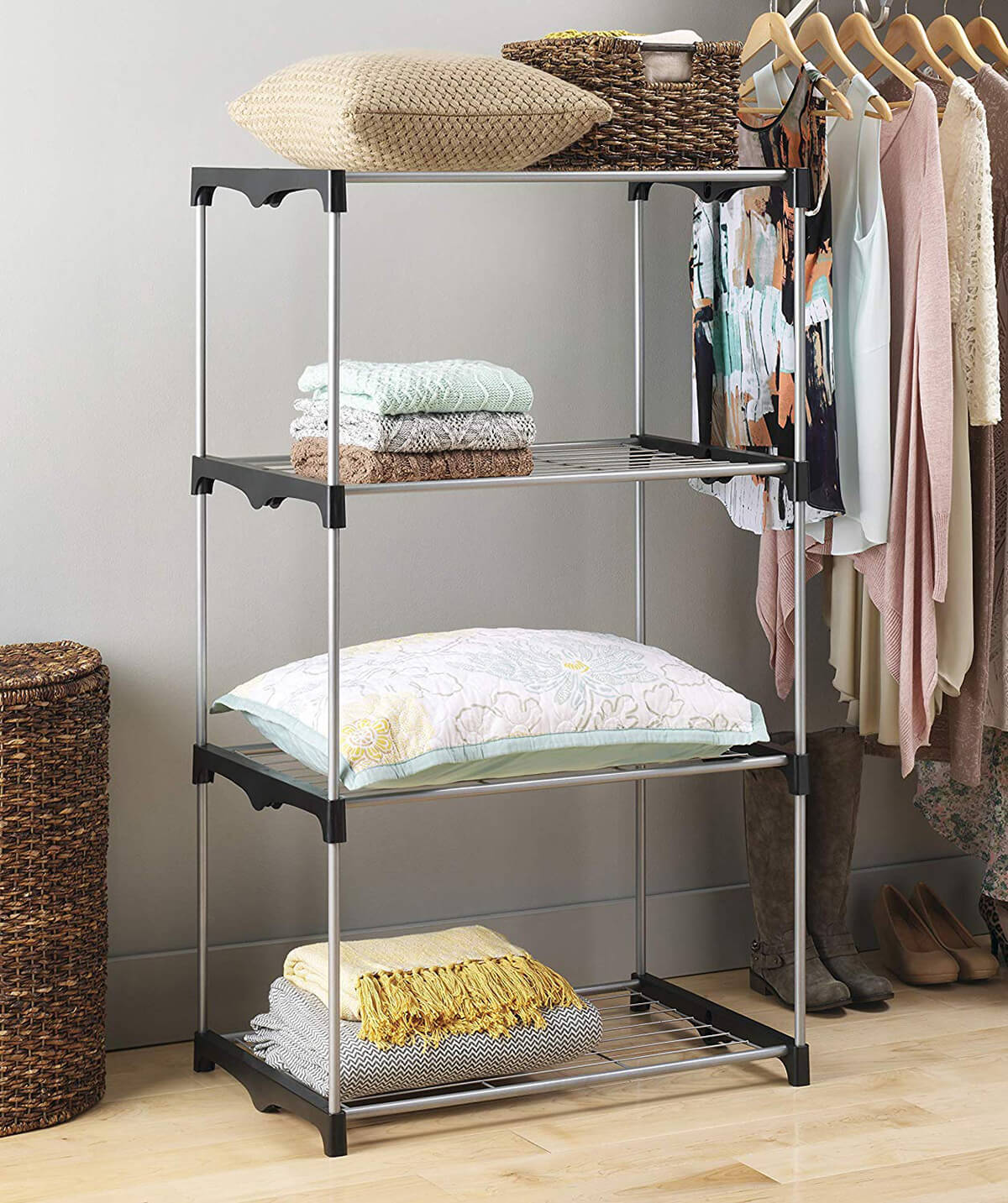 Space-Saving Slim Metal Shelves