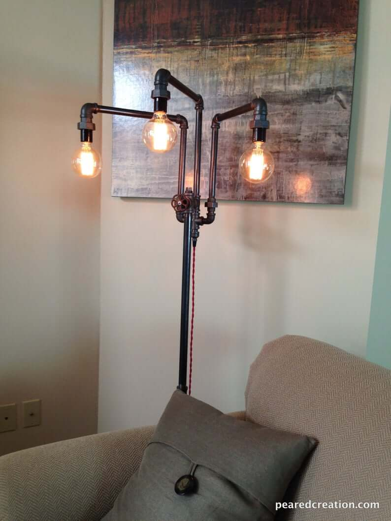 Industrial Pipe Lamp with Adjustable Arms
