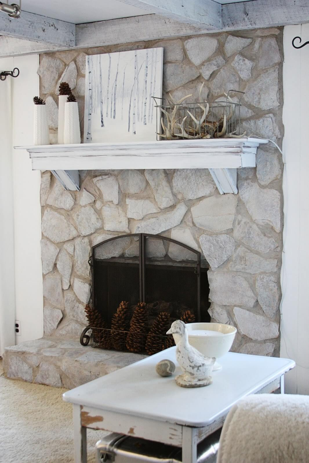 Sheer Painted Stone Fireplace Design