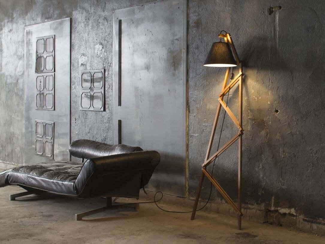 Unique Leaning Floor Lamp with Wood Lattice