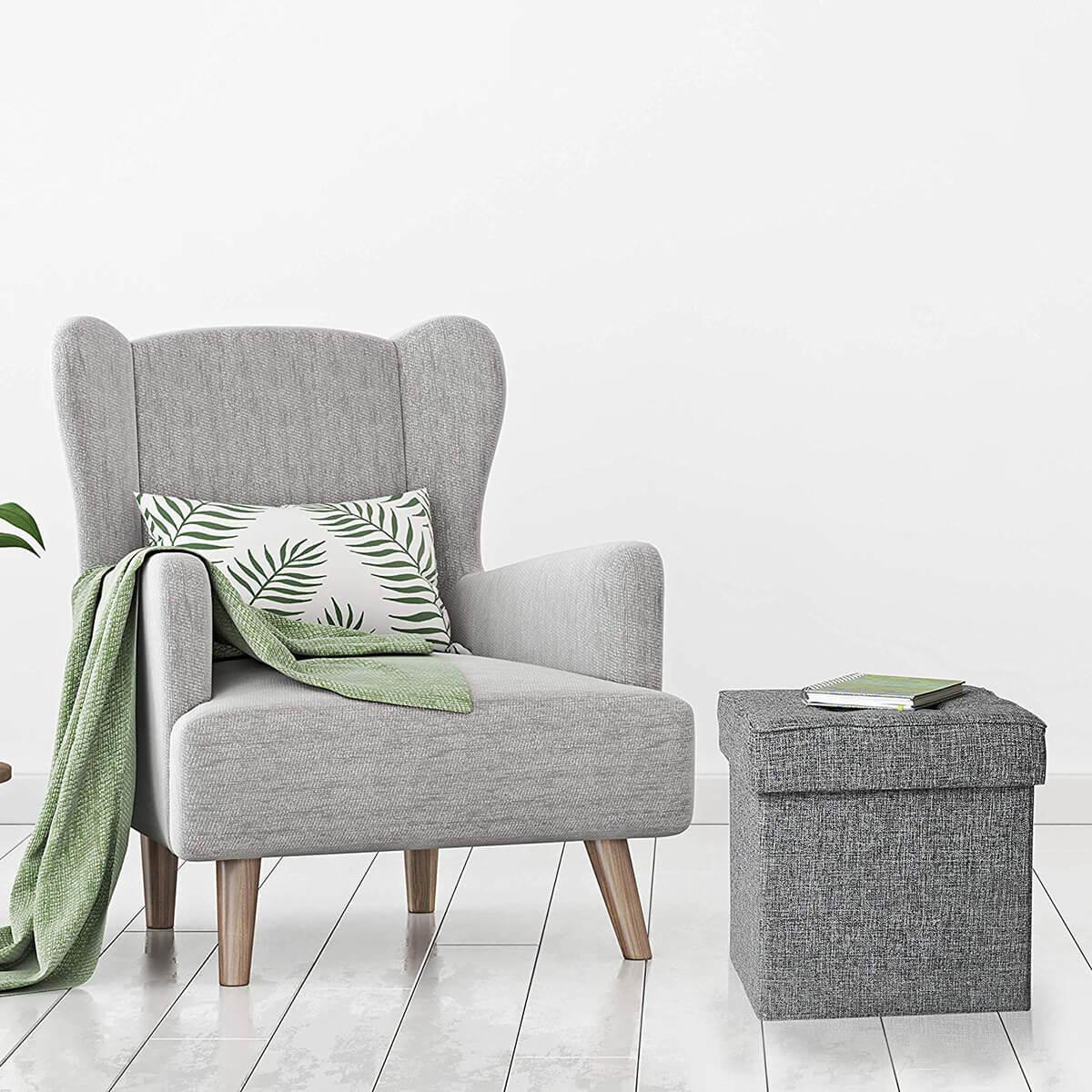 Modern Tweed Foldable Ottoman Footrest
