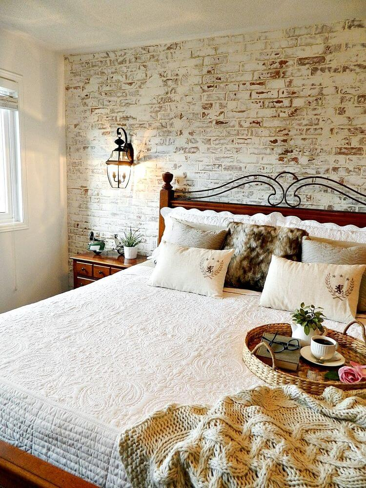 Exposed Faux Brick Bedroom Accent Wall Design Ideas