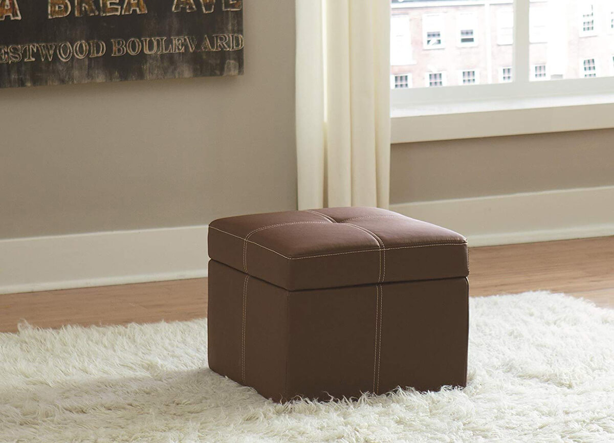 Small Faux Leather Square Ottoman