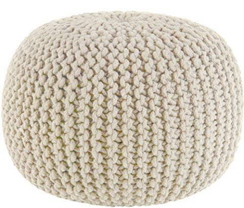 Hand Knitted Cable Style Ivory Pouf